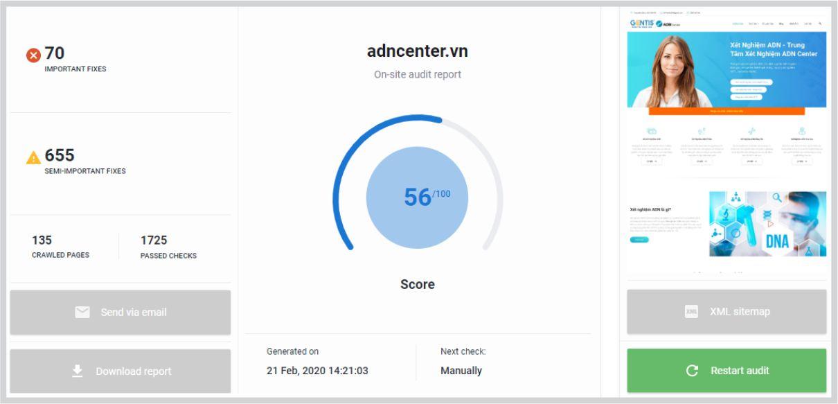 phần mềm seo nefranking onsite audit