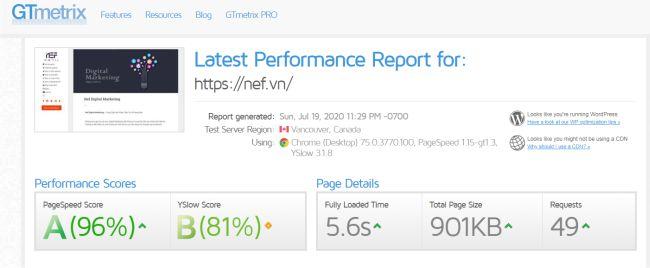 Đánh giá tốc độ website trên GTmetrix