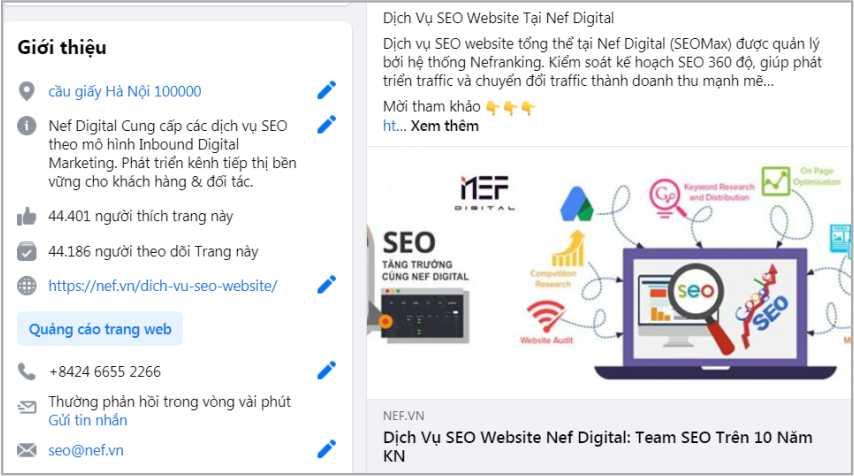 Mô tả thông tin Fanpage Dịch vụ SEO website tại Nef Digital trên Facebook