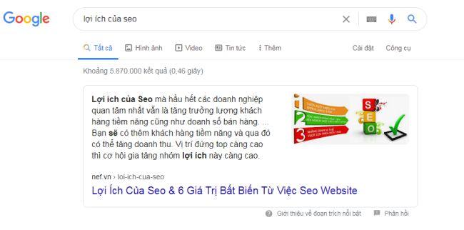 """Ví dụ minh họa: Khách hàng tìm kiếm theo từ khóa """"lợi ích của SEO"""""""