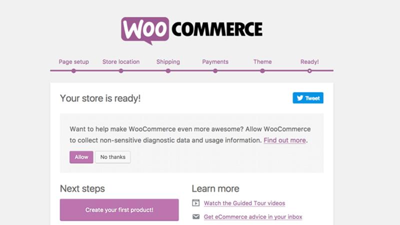 Trình thiết lập của WooCommerce
