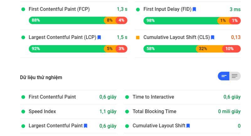 Thông số trả về từ Pagespeed Insight